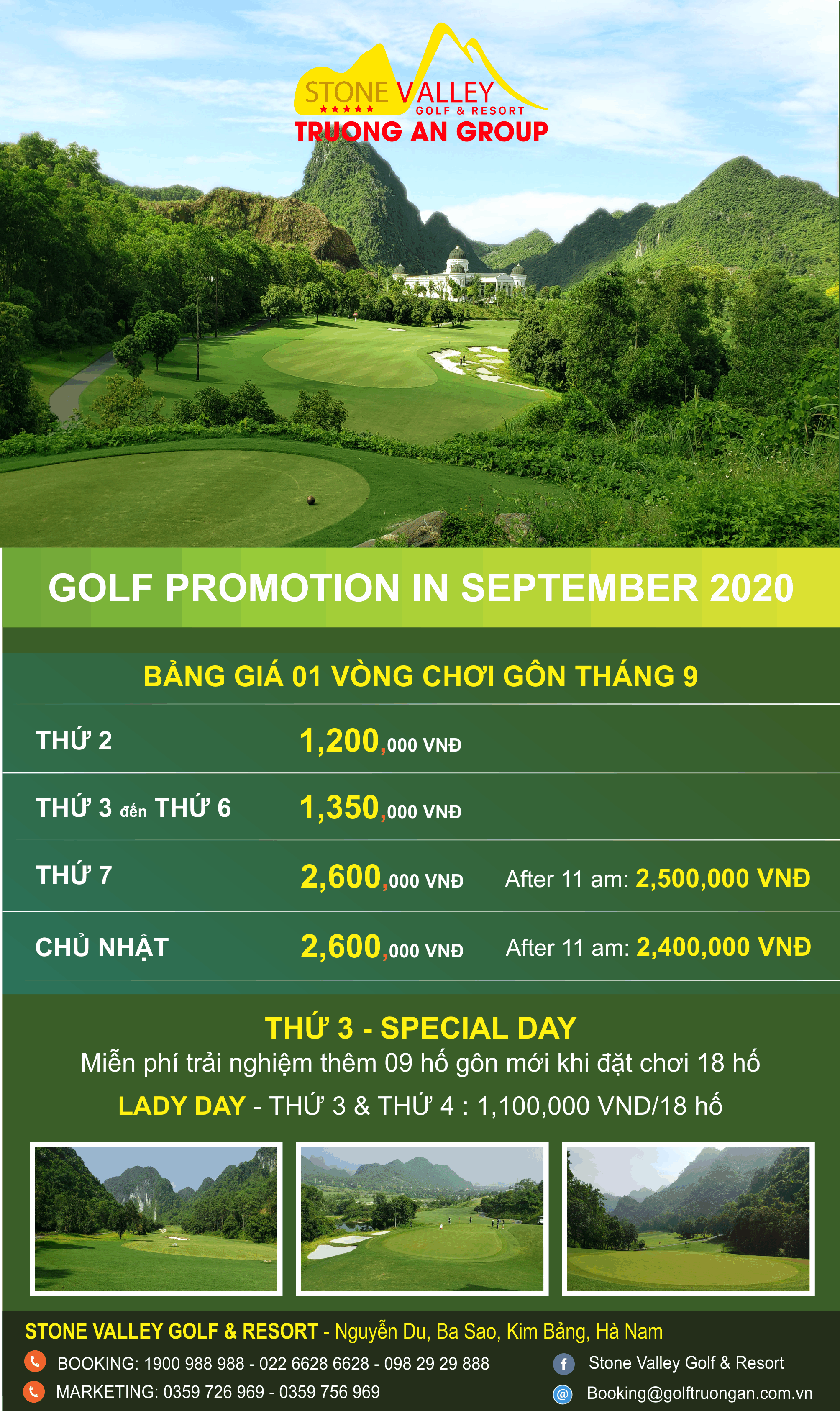 GOLF TARIFF MONTH 9/2020