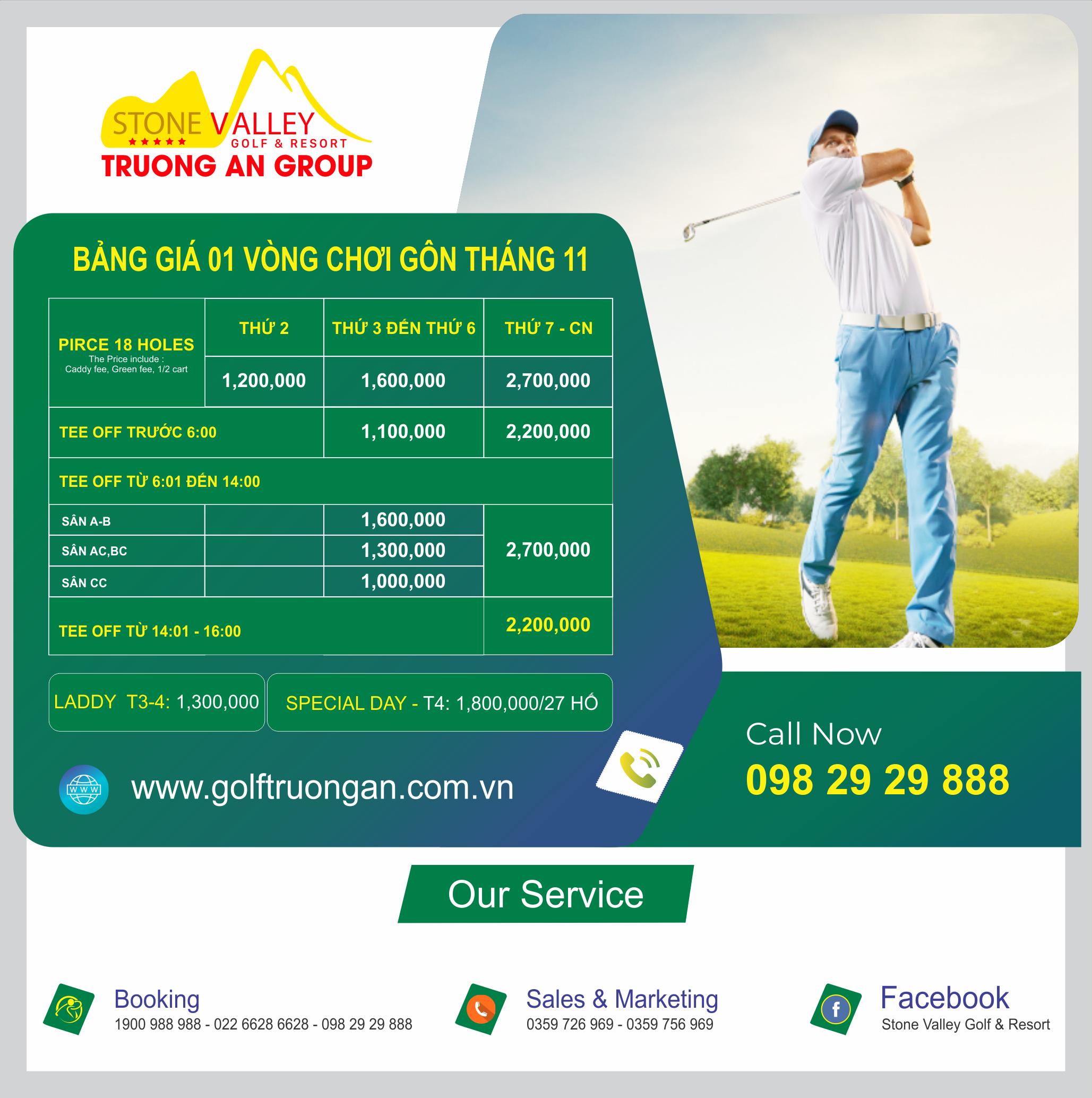 Bảng giá Golf tháng 11 năm 2020